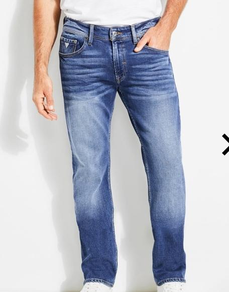 Guess Slim Straight Leg Jeans Men Size 38 X 30 Classic Dark Blue Distressed Jean